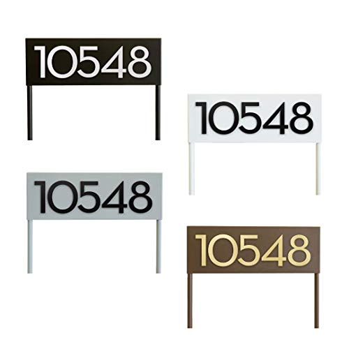 Modern Aspect Hi Neighbor Yard Sign   Uniquely Identify Your Home   Powder Coated   Weather Resistant   Modern   House Numbers - Black, Brown, Gray, White With Customizable Numbers Made In The USA