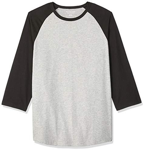 Amazon Essentials, Herren-Baseball-T-Shirt, Regular-Fit, 3/4-Ärmel, Black/Light Gray Heather, US S (EU S)