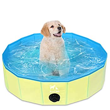 Zacro Foldable Small Dog Pool - Pet Dog Cats Paddling Bath Pool Small Outdoor Bathing Tub for Dogs Cats and Kids  31.5 X 7.9 in