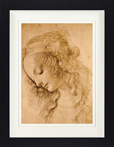 1art1 114222 Leonardo Da Vinci - Weiblicher Kopf, Circa 1478 Gerahmtes Poster Für Fans Und Sammler...