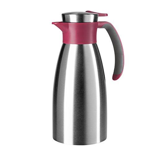 Emsa 512576 Isolierkanne, Edelstahl, 1 Liter, Quick Tip Verschluss, 100% dicht, Himbeer, Soft Grip