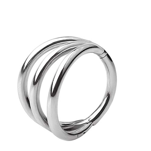 Titanium Nose Ring 3 Fans Out Design Side Facing Hinged Segment Hoop Nose Piercing Cartilage Helix Earring Jewelry 1.2x8mm