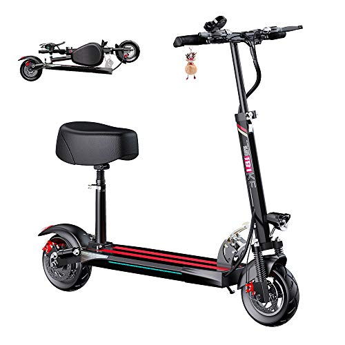 "WLLUIO Electric Scooter, 500W Motor, 38 Miles Long Range Battery, Up to 28 MPH, 10"" Tires, 3 Speed Modes, Portable and Folding Adults Electric Scooter for Short Daily Commutes and Trips"