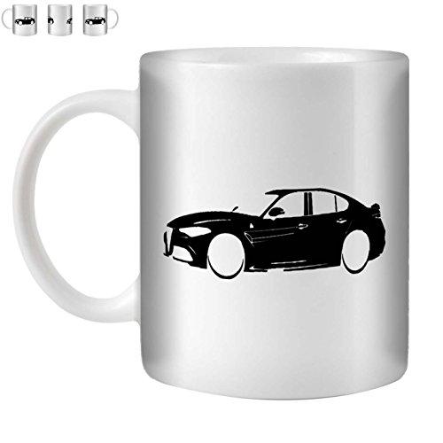 Stuff4 Tee/Kaffee Becher 350ml/Schwarz/Alfa Romeo Giulia/Weißkeramik/ST10