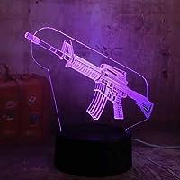 3Dナイトライト3DLedナイトライトテーブルランプRGB7カラーボーイズホームデコレーションクリスマスギフトタッチワン7カラーM4A1