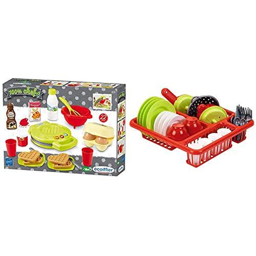 Ecoiffier – Waffeleisen für Kinder – 22-teiliges Backset mit Spiellebensmitteln, ideales Zubehör für Spielküchen, Spielwaffeleisen, für Kinder ab 18 Monaten & 8/000608 - Geschirr Garnitur