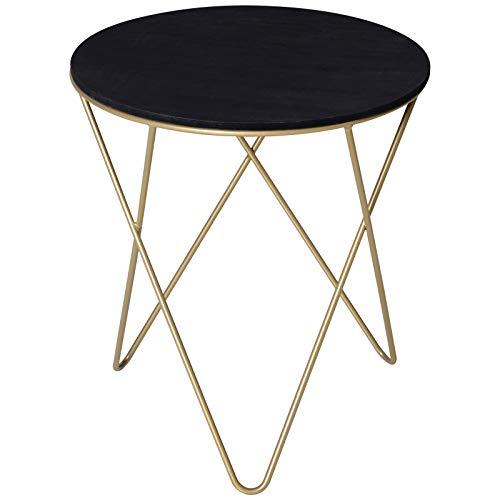 PQXOER Tavolino da CaffèTavolino Design Geometrico Moderno MDF E Metallo ?43x48cm Nero E DoratoTavolino da Salotto