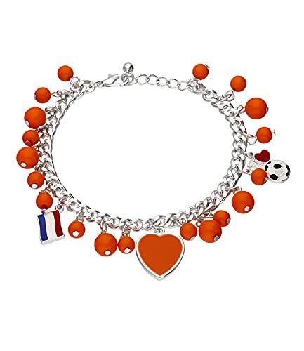SIX Pulsera de abalorios de los Países Bajos, diseño de corazón, fútbol, bandera, accesorio para el Campeonato de Europa, selección nacional (613-636)