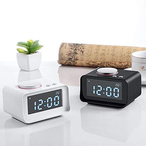 Wekker Alarm Clock met LED-licht FM Radio LED Desk Clock Wake Up Light USB opladen Timer Weerstation Wekker Despertador (Color : UK Plug White, Size : Free)