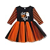 WangsCanis Disfraz de Halloween para niña, disfraz de Halloween para niña, vestido de calabaza, ropa de bebé, Halloween, vestido de princesa., negro B, 2-3 Años