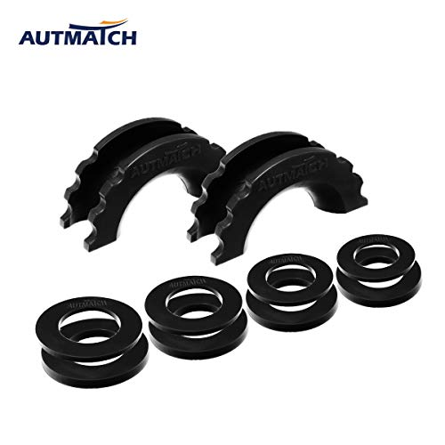 AUTMATCH Pack of 2 D-Ring Shackle Isolators Washers Kit 2 Rubber Shackle Isolators and 8 Washers Fits 3/4 Inch Shackle Gear Design Rattling Protect Shackle Cover Black
