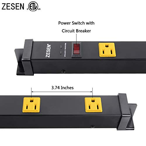 ZESEN 12 Outlet Heavy Duty Workshop Metal Power Strip Surge Protector with 15ft Heavy Duty Cord, ETL Certified, Black 5
