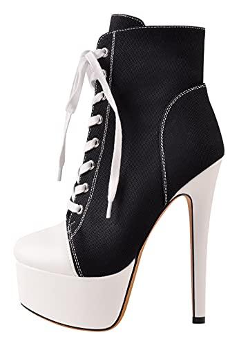 Only maker Damen Fashion Sneakers Plateau Ankle Boots Canvas Schnürstiefeletten Stiletto Schwarz 44 EU