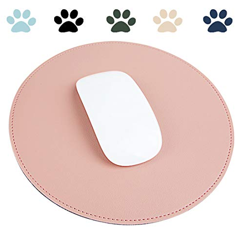 Round Thin Leather Mouse Pad with Stitched Edge Micro-Fiber Base with Non-Slip Waterproof,Mouse Pad for Computers,Laptop,Office&Home ,8.6inch8.6inch (Pink)