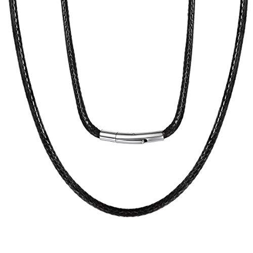 ChainsPro 3MM Collar Flexible Unisex de Hombres y Mujeres Cierre Metal Color Negro 16 Pulgadas, Cuerdas Cruzadas de Cuero Cadena de Cera SOGA