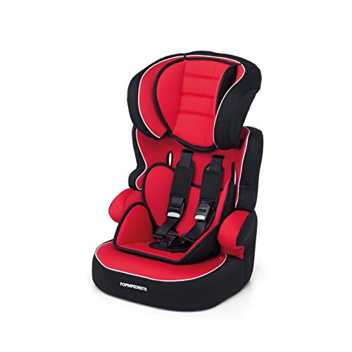 Foppapedretti Babyroad - Seggiolino Auto, Gruppo 1-2-3 (9-36 Kg) per Bambini da 9 Mesi a 12 Anni Circa, RRosso (Rouge)