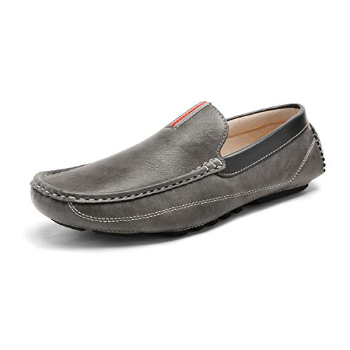 Size 14 Grey Slip on Shoes for Men Leather