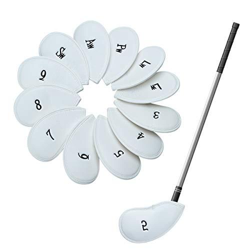 Lychee Golfschlägerhauben Set, wasserdicht, Kunstleder, Muster, für die meisten Golfmarken Titleist Callaway Ping Taylormade Cobra Nike (Weiß)