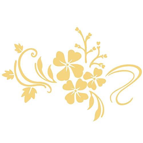 Adesivi murali specchio Adesivo autoadesivo fai da te in plastica rimovibile Fiore Vine Art Wall Sticker Decoration Home Parlor Room Decal(Giallo dorato)