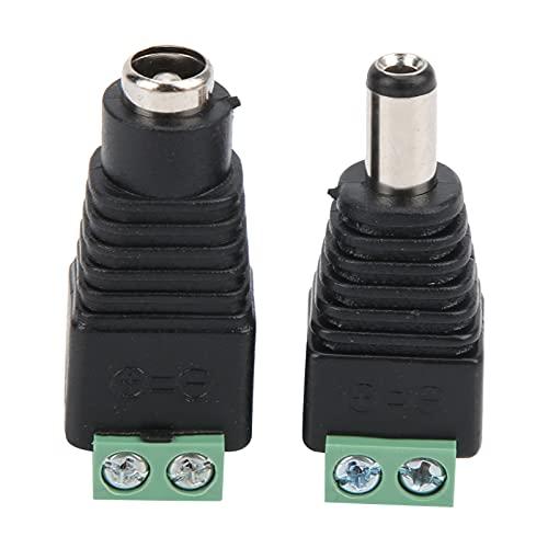 Longzhuo Conector Adaptadores de Corriente Jack, 5,5x2,5 mm DC Conector de alimentación Jack Adaptadores de Corriente CCTV Macho y Hembra para cámara/convertidor