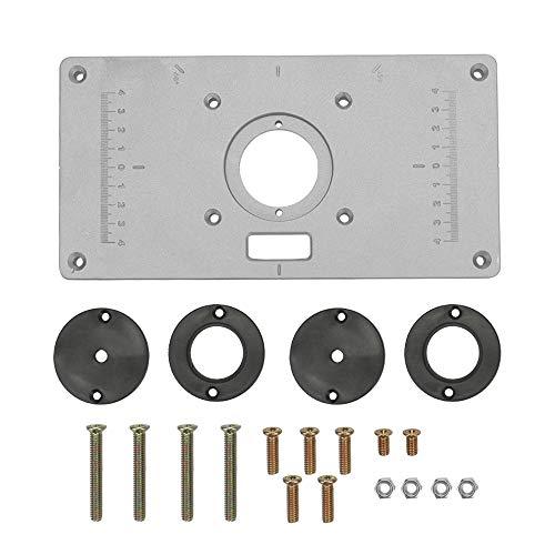 Mesa de enrutador de aleación de aluminio multifuncional para bancos de carpintería Inserción de placa 235 mm x 120 mm x 8 mm Carpintero Máquina de corte Tablero de viruta