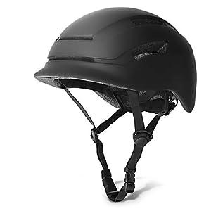 GLAF 自転車 ヘルメット 大人用 LEDライト付き ジュニア スケートボード スポーツヘルメット ロードバイク USB充電 シティヘルメット インモールド成形 ロードサイクリング 安全保護 男性 女性兼用 成人の日 56〜61cm(ブラック, L)