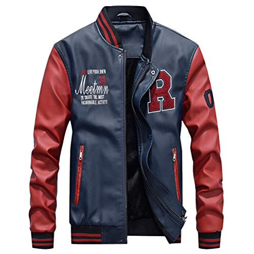 ULEEMARK Uomo PU Pelle College Baseball Jacket Felpa Motociclista Giacca Giubbotto