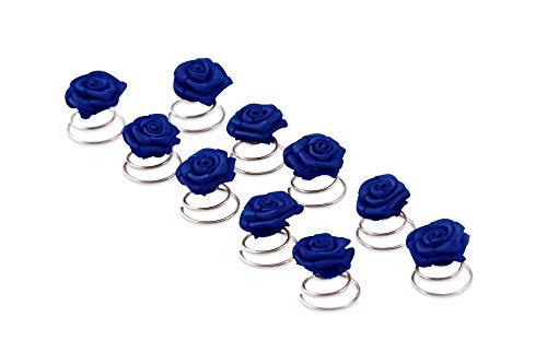 10 x Rosen Curlies - Brauthaarschmuck - Curlie - Haarschmuck | Blau