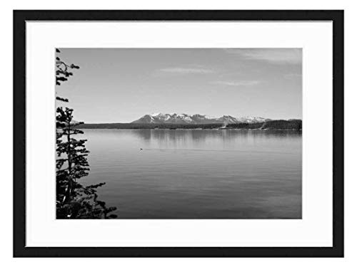 Wood Framed Canvas Artwork Home Decore Wall Art (Black White 20x14 inch) - Lake View Water Shoreline Nature Scenery Trees
