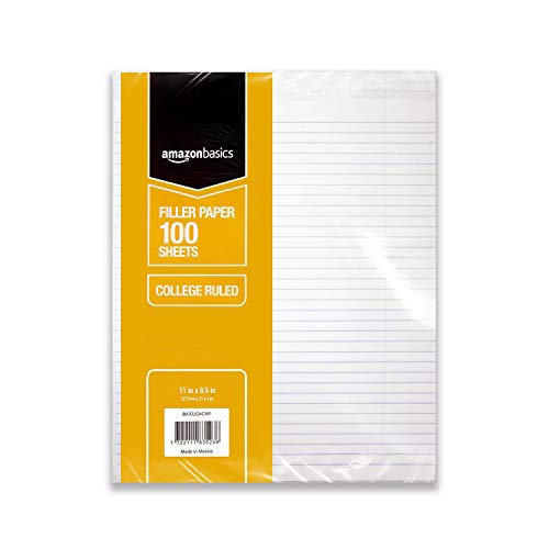 AmazonBasics College Ruled Loose Leaf Filler Paper, 100 Sheet, 11 x 8.5 Inch, 6-Pack