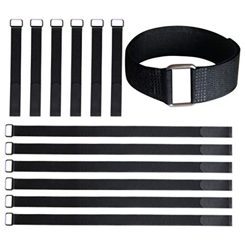 VIGAER Fastening Cable Straps, 12 and 24 inch Adjustable Reusable Straps, 12 pcs Nylon Hook and Loop Ties Down Straps