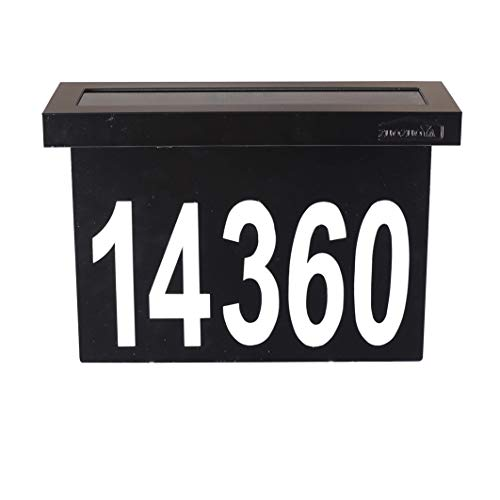 ZUOZUOYA Solar House Numbers Light - Black Stainless Steel Address Sign for House or Yard - 6 LED Light up House Numbers at Night - Waterproof Metal Plaque Outdoor Light