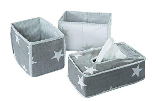roba Pflege Organiser Set 'Little Stars', 3tlg, Aufbewahrungsbox Set, 2 Boxen für Windeln & Wickelzubehör, 1 Dekobox für Feuchttücher