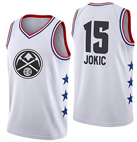 BBMB Nuggets Jokic # 15 Hombres Fans Baloncesto Retro Color Bordado 100% Tejido de poliéster Ropa de Entrenamiento de Movimiento-White-M