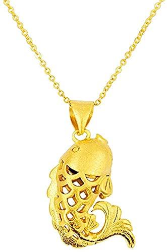 NC190 Collares con Colgante de pez Dorado Original de 24 K para Mujer, Collares con Colgante de Oro Indio, Regalos de joyería de Boda