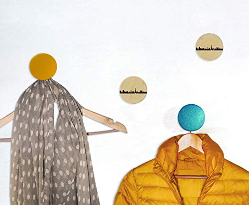 PARIS Wandhaken-Set, Garderoben Knöpfe, Paris Holz-Kleiderhaken, Paris Skyline Garderobe Eingangsbereich, Geschenk neue Wohnung, Paris Fans