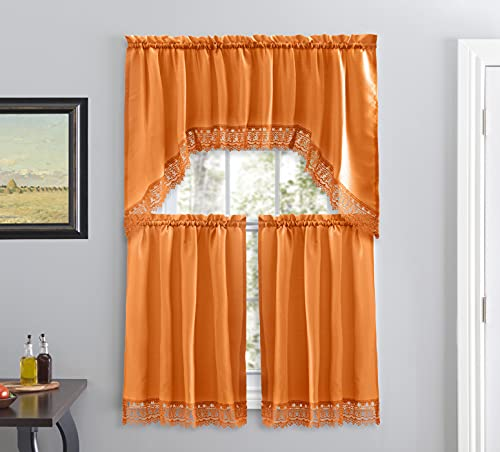 Café Curtains for Kitchen, Bathroom Curtains with Valance, Embroidered lace Border. (Orange)