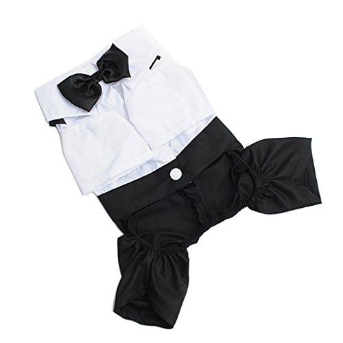 Luwu-Store Liebenswürdig, Formale Pet Hund Puppy gentlemant Anzug Smoking Krawatte Kleidung Schwarz + Weiß Größe S