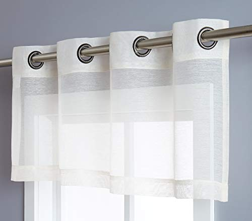 "DecoSource Semi Sheer Window Valance – 54"" W x 18"" L - Elegant Home Decor Window Treatments (Valance 54"" W x 18"" L, Beige)"