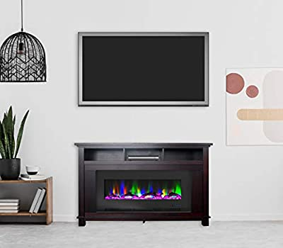 CAMBRIDGE San Jose 58 in. Freestanding Electric Heater TV Stand in Mahogany with 50 in. Insert and Multi-Color LED Driftwood Display, CAM5735-2MAH Fireplace
