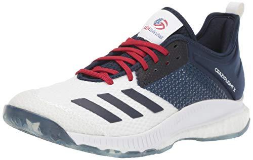 adidas Women's Crazyflight X 3 USA Volleyball Shoe, White/Collegiate Navy/Power Red, 8 M US