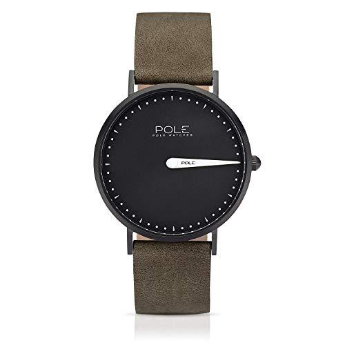 Pole Watches Reloj de Pulsera Analógico Monoaguja de Cuarzo para Hombre con Correa de Cuero | Modelo Classic
