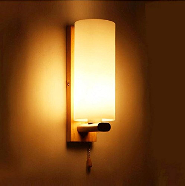 Wandleuchte Massivholz Nachttischlampe   LED Schlafzimmer Gang Glas Wandleuchte