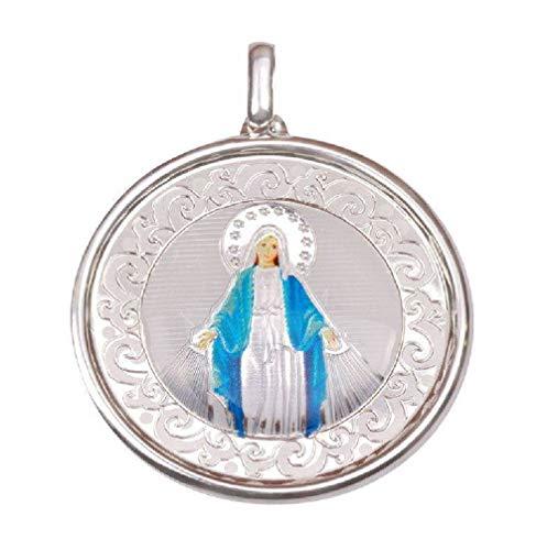 EMPATHY JEWELS Medalla Virgen Milagrosa de Plata de Ley de 35 mm. Colgante milagrosa con Esmalte una Joya para Siempre.