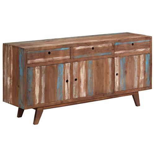Festnight Sideboard | Vintage Kommode | Antikstil Beistellschrank | Holz Schubkastenkommode | Mit 3 Schubladen und 3 Schrankfächern | Massivholz Akazienholz 145 x 40 x 75 cm