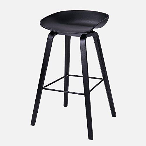 Tabouret de bar nordique, tabouret haut maison, tabouret de bar en bois massif, simple chaise de bar moderne décontracté créatif (Couleur : Noir, taille : 49 * 46 * 76cm)