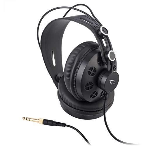 TIE Studio Kopfhörer halboffen ohrumschließend für Rundfunk-, Tonstudio-, Podcast- und Multimedia-Anwendungen (3m, 3,5mm Klinkenstecker, 6,3 mm Schraubadapter)