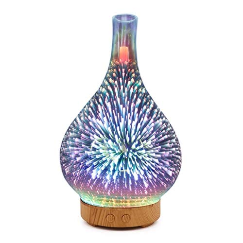 GXFCQKDSZX Aroma Diffuser With Night Light 3D Firework Glass Vase Shape Aroma Diffuser