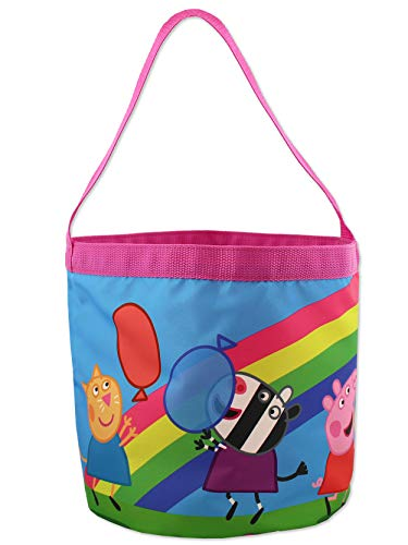 Peppa Pig Girls Collapsible Nylon Bucket Toy Storage Gift Tote Bag (One Size, Multicolor)