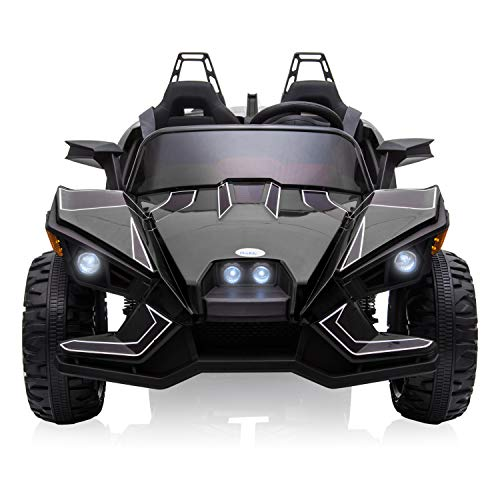 12V Kids Toy Electric Ride On Car, 2 Seats Battery Operated Motorized Vehicle with Remote Control, Spring Suspension Wheels, 3 Speeds, LED Lights, Music, Bluetooth, AUX Cord, USB Port - Black